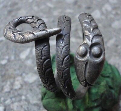 Ancient Roman Senatorial Silver ring SNAKE Amazing Stunning