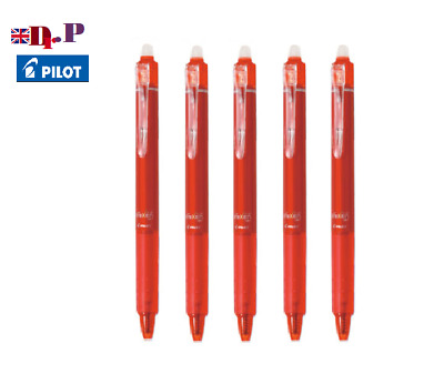 Pilot FriXion Clicker Erasable Rollerball Pen 05mm Fine 5 pack red