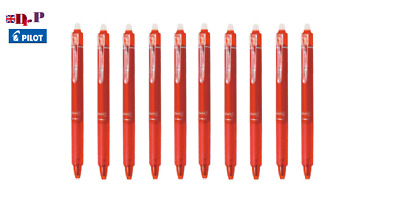 Pilot FriXion Clicker Erasable Rollerball Pen 05mm Fine 10 pack red