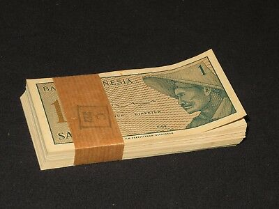 FOREIGN MONEY SATU SEN Indonesia Bank Note Crisp Uncirculated 1964 Bundle 100