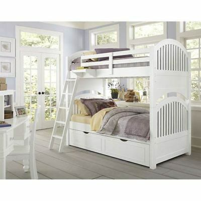 NE Kids Lake House White Adrian Twin Bunk Bed with Trundle - 1031NT