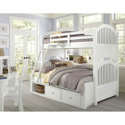NE Kids Lake House White Adrian Twin Over Full Bunk Bed with Storage - 1035NS