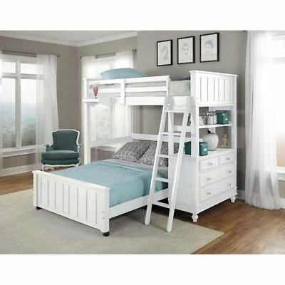 NE Kids Lake House White Twin Loft with Full Lower Bed - 1040NLFB