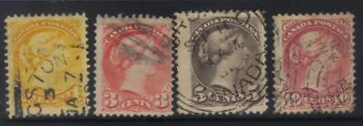 Canada 1870-1890 Qv Heads 4 Used Values Min Cat £70+ Nice Postmarks