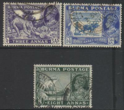 Burma 1938-1940 Defins 3 Used Values
