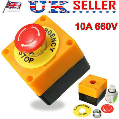 Red Mushroom Cap Emergency Stop Push Button Switch Station 10A 660V 1 NO 1 NC UK