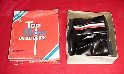 New In Box Vintage Wolverine Top Gear Cycle Motorcyle Boots 7.5 Black Leather