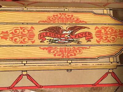Rare Flexible Flyer Sled Advertising Paper Litho Ornament Toy Exc. Circa 1900's