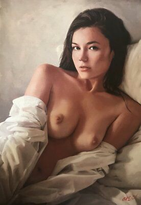 NEW ORIGINAL WILLIAM OXER Long Lost Love young girl woman sexy pretty PAINTING