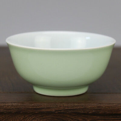 China old hand-carved porcelain bean green glaze  A small bowl b02