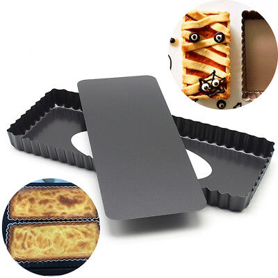 Rectangle Fluted Pie Tart Pan Baking Mold Non Stick Removable Bottom Quiche Tool