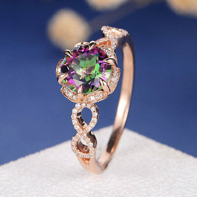 Fashion Women 18K Rose Gold Mystic Topaz Stack Twisted Ring Bridal Women Jewelry