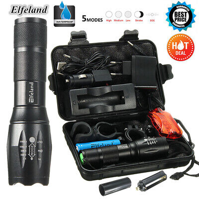 90000LM Tactical T6 LED Flashlight Zoomable 18650 Torch Lamp Light Charger Box
