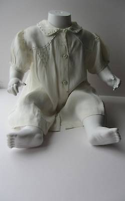 Vintage 40's dress baby age 1-18 months blue cream hand smocking embroidery