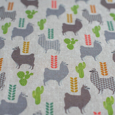 llama print Canvas woven Fabric Cotton Rich -natural cactus grey muted neutral