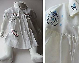 Vintage baby dresses unisex blue red train logo embroidery age 1 60's