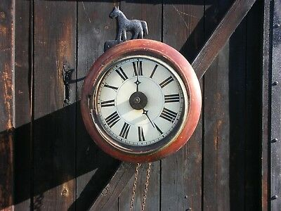Antique Mahogany & Painted Clock Face With Mechanical Parts Spares Or Repair
