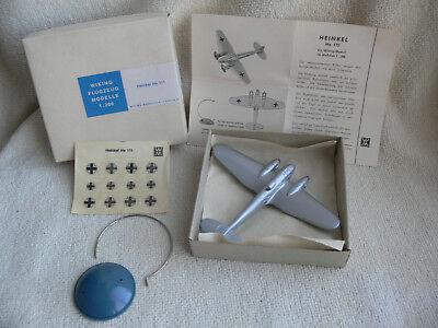 Wiking-Aircraft old Model 1:200 Heinkel He 111 silver+Box+Decals+Sockel+BPZ RARE