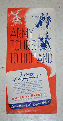 Vintage Brochure Army Tours in Holland American Express US Army Germany