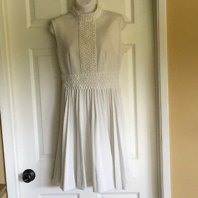 Carol Brent Montgomery Ward Vtg 1960s Wool Blend Thick White Dress SMALL