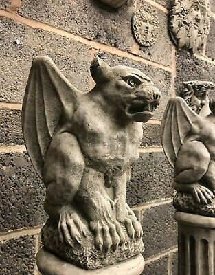 Flying dog gargoyle stone garden ornament post finial gremlin guard crouching