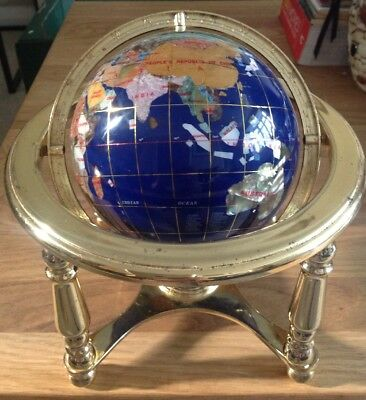 Gem Stone Globe - Gemstones World on gold finish metal stand with compass