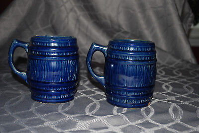 Antique Pair Of Cobalt Blue Heavy Stoneware Tankards Barrel Shaped Great!