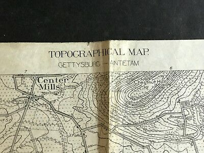 WWI  WW1 - TOPOGRAPHICAL MAP OF ANTIETAM 1913 - used for AEF training solders
