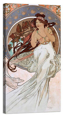Stampa su Tela Vernice Effetto Pennellate ALPHONSE MUCHA Times of the Day