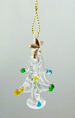 "Glass Christmas Tree 2"" Mini Ornament Gift Blue Green Ball Stocking Stuffer"