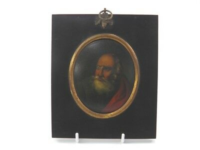 Antique early 19th century portrait miniature oil painting on panel of a scholar