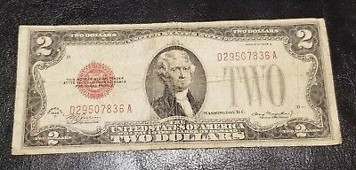 1928 D Series $2 Two Dollar Bill RED SEAL Old Paper Money Currency CIRCULATED