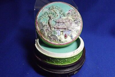 Antique Chinese Famille Verte Porcelain Ink / Wax Box Raised Village Scene Sgnd