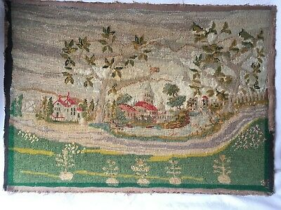 Antique Tapestry Needlepoint  - French ? Country Scene - Wallhanging Picture