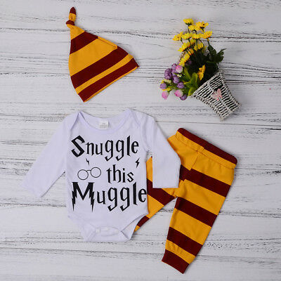 Snuggle This Muggle Newborn Baby Boys Bodysuit Romper+Pants+Hat Outfit 3x New
