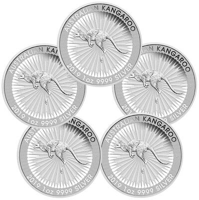 Lot of 5 - 2019-P Australia Silver Kangaroo $1 Coins GEM BU SKU55522