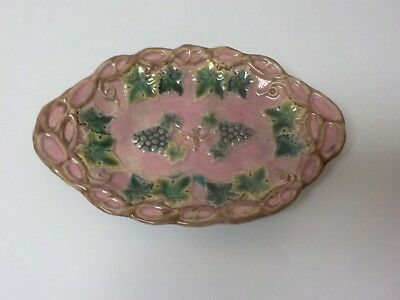 """19th C. Griffin, Smith & Hill ETRUSCAN Majolica 10"""" Grapevine Tray, Early Mark"""