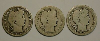 Lot Of 3 Silver Barber Half Dollars 1894 P & O & S 3 Mints Check Pics!!