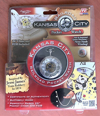 KANSAS CITY RAILROAD POCKET WATCH Inspired By JESSE JAMES TRAIN ROBBER MIMB
