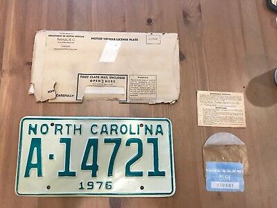 1976 North Carolina License Plate With Original Registration And Sticker
