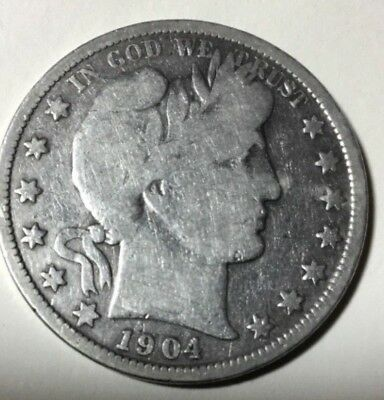 1904-O- 50C - NEW ORLEANS Mint  U.S. Silver Barber Half Dollar Coin