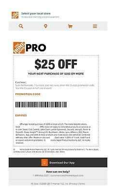 One 1x Home Depot $25 off $200Coupon In-Store Only--fast---