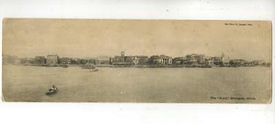 CHINE CHINA old RARE PANORAMIC DOUBLE BURR postcard SHANGHAI BUND FROM RIVER