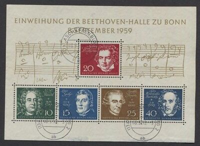 Germany 1959 Composers Souvenir Sheet SC #804 Used First Day (JT)