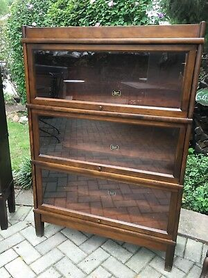 Antique Barrister Bookcase 3 Stack ..Beautiful Walnut Hale, Herkimer NY