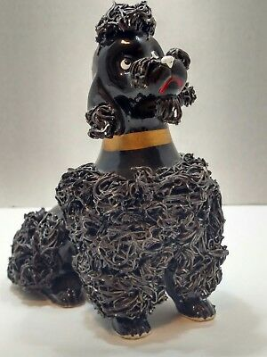 "Spaghetti China Poodle Black Vintage 1950's 5.5"" Tall 6"" Wide Gold Collar T34B"