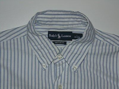 Ralph Lauren blue stripes shirt - large mens 180/100A custom fit - S5975