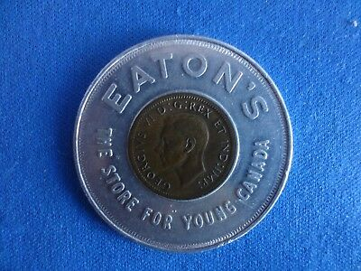 1947 KG  Encased One Cent Coin-Eaton's Keep Me Never Go Broke