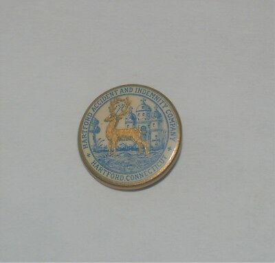 Antique Advertising Celluloid Button Pin Hartford Accident And Indemnity Company