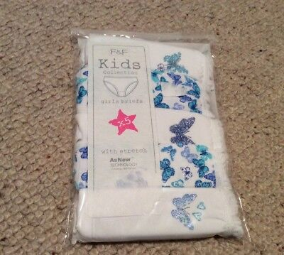 Girls 5 Pack Butterfly Print Briefs / Knickers 4-5 Yrs BNWT